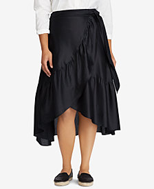 Lauren Ralph Lauren Plus Size Wrap Cotton Skirt