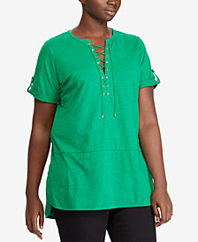 Lauren Ralph Lauren Plus Size Lace-Up Cotton Top