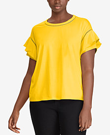 Lauren Ralph Lauren Plus Size Ruffled-Sleeve T-Shirt