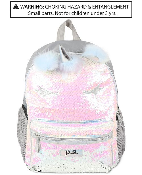 Fab P S By Little Big Girls Sequinned Unicorn Backpack All Kids