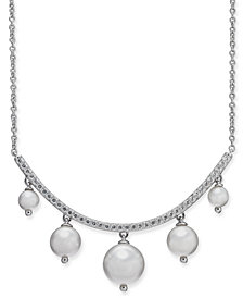 "Danori Silver-Tone & Shaky Imitation Pearl Collar Necklace, 16"" + 1"" extender, Created for Macy's"