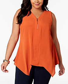 NY Collection Plus Size Handkerchief Hem Top