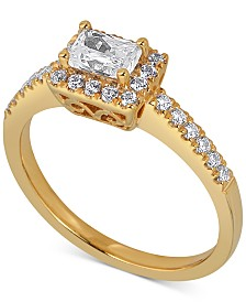Diamond East West Emerald Engagement Ring (5/8 ct. t.w.) in 14k Gold