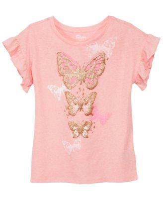 Big Girls Ruffle-Sleeve T-Shirt, Created for Macy's