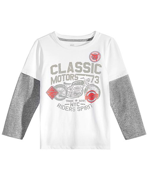 d09f7f00 Little Boys Graphic-Print Faux-Layer Long-Sleeve T-Shirt, Created for Macy's
