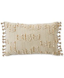 "Lucky Brand Clip Tie Embroidered 16"" x 24"" Decorative Pillow, Created for Macy's"