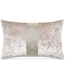 "Charisma Avalon Beaded Crushed Velvet 14"" x 22"" Decorative Pillow"