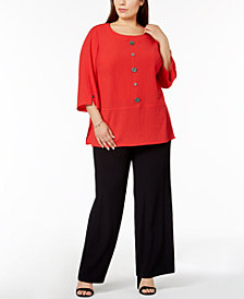 JM Collection Plus Size Crinkle Top & Textured Wide-Leg Pants, Created for Macy's