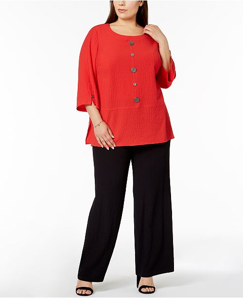 c0efea06b5558d JM Collection Plus Size Crinkle Top & Textured Wide-Leg Pants, Created for  Macy's ...