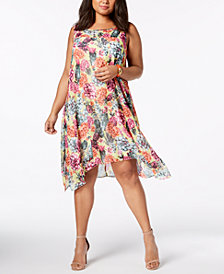 Robbie Bee Plus Size Floral-Print Shift Dress
