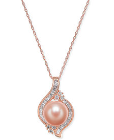 "Pink Cultured Freshwater Pearl (8mm) & Diamond (1/4 ct. t.w.) 18"" Pendant Necklace in 14k Rose Gold"
