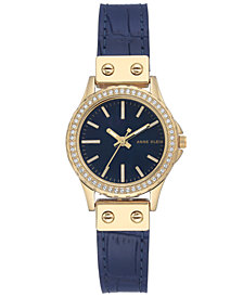 Anne Klein Women's Blue Leather Strap Watch 29mm