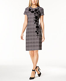 Calvin Klein Flocked Houndstooth Sheath Dress