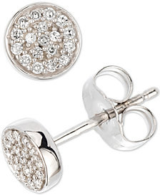Elsie May Diamond Cluster Button Stud Earrings (1/10 ct. t.w.) in Sterling Silver