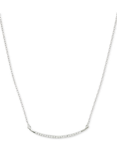 Elsie May Diamond Accent Curved Bar Collar Necklace in Sterling Silver, 15