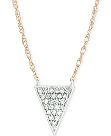 "Diamond Pavé Triangle Pendant Necklace (1/10 ct. t.w.) in 14k Gold & Sterling Silver, 17"" + 1"" extender, Created for Macy's"