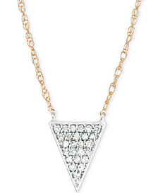 "Elsie May Diamond Pavé Triangle Pendant Necklace (1/10 ct. t.w.) in 14k Gold & Sterling Silver, 17"" + 1"" extender"
