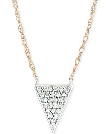 """Elsie May Diamond Pavé Triangle Pendant Necklace (1/10 ct. t.w.) in 14k Gold & Sterling Silver, 17"""" + 1"""" extender, Created for Macy's"""