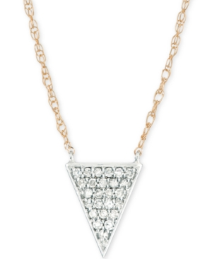 "Elsie May Diamond Pave Triangle Pendant Necklace (1/10 ct. t.w.) in 14k Gold & Sterling Silver, 17"" + 1"" extender, Created for Macy's"