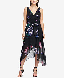 DKNY V-Neck Chiffon Wrap Dress, Created for Macy's