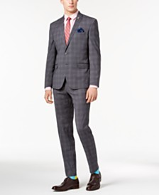 Nick Graham Men's Slim-Fit Stretch Medium Gray Plaid Suit
