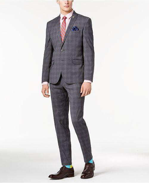Nick Graham Men's Slim-Fit Stretch Medium Gray Plaid Suit