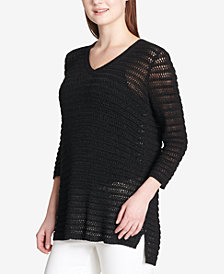 Calvin Klein Open-Knit 3/4-Sleeve Sweater
