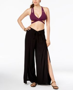 BECCA Tie-Front Cover-Up Pants Women'S Swimsuit in Black