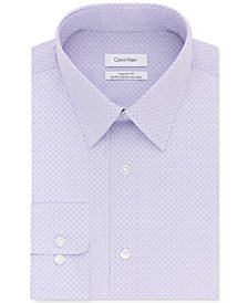 Calvin Klein Men's STEEL Classic/Regular Fit Non-Iron Performance Purple Helio Pattern Dress Shirt