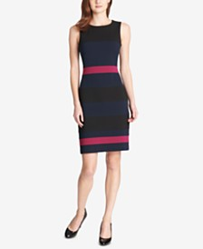 Tommy Hilfiger Petite Scuba Crepe Colorblock Sheath Dress