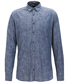 BOSS Men's Slim-Fit Leaf-Print Chambray Cotton Sport Shirt