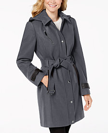 MICHAEL Michael Kors Faux-Leather-Trim Belted Coat