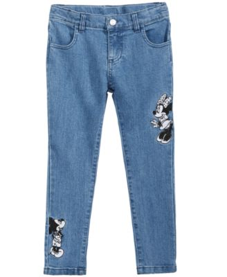 Little Girls Minnie & Mickey Mouse Embroidered Jeans