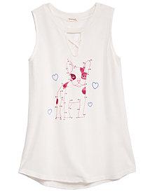 Monteau Big Girls Keyhole Dog Sleeveless Cotton T-Shirt