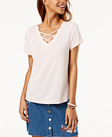 One Hart Juniors' Scalloped Crisscross-Strap T-Shirt, Created for Macy's