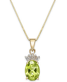 "Peridot (1-1/2 ct. t.w.) & Diamond Accent 18"" Pendant Necklace in 14k Gold"