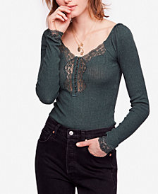 Free People To The West Lace-Trim T-Shirt