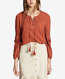 Sanctuary Red Rock Cotton Lace-Up Tassel-Trim Top