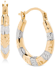 Two-Tone Hammered Hoop Earrings in 14k Gold