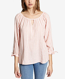 Sanctuary Summer Escape Cotton Striped Keyhole Top