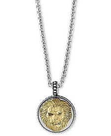 "EFFY® Men's Two-Tone Lion's Head 22"" Pendant Necklace in Sterling Silver and 18k Gold-Plate"