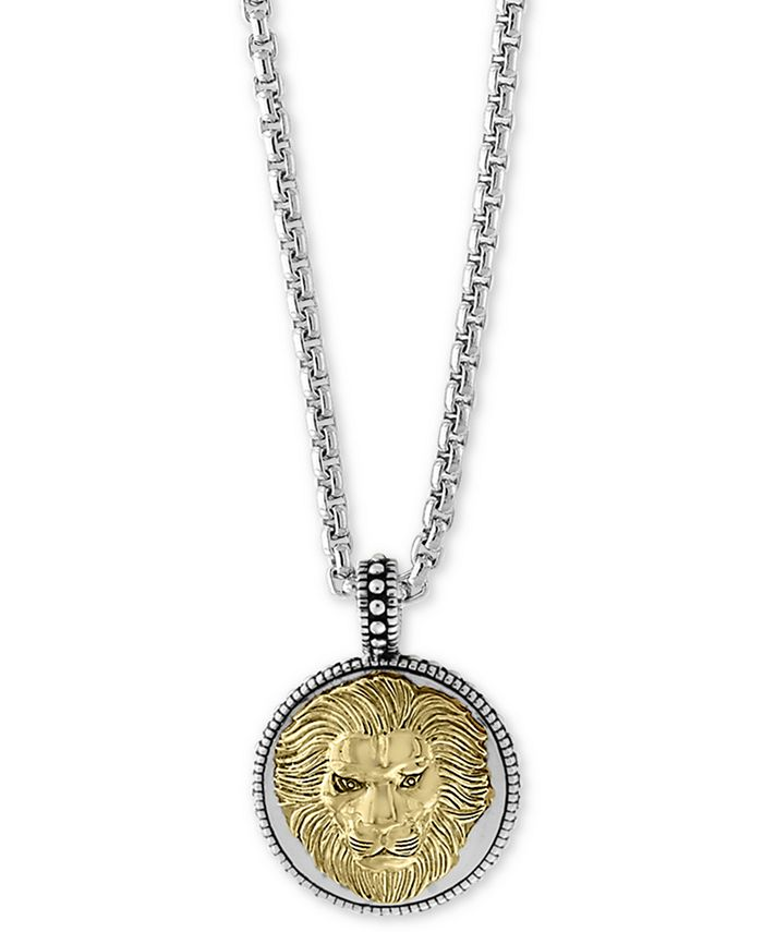 """EFFY Collection - Men's Two-Tone Lion's Head 22"""" Pendant Necklace in Sterling Silver and 18k Gold-Plate"""