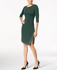 NY Collection Petite Studded Ruched Dress