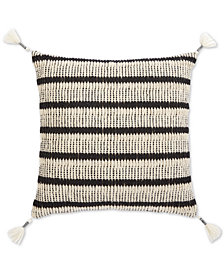 "Oxford Collection Honeycomb Hand-Woven Stripe 20"" Square Decorative Pillow, Created for Macy's"