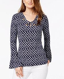 MICHAEL Michael Kors Printed Lace-Up Top in Regular & Petite Sizes