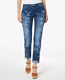 MICHAEL Michael Kors Floral-Print Cropped Jeans In Regular & Petite Sizes