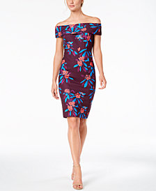 Calvin Klein Floral-Print Off-The-Shoulder Scuba Midi Dress