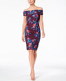 Calvin Klein Floral-Print Off-The-Shoulder Scuba Midi Dress