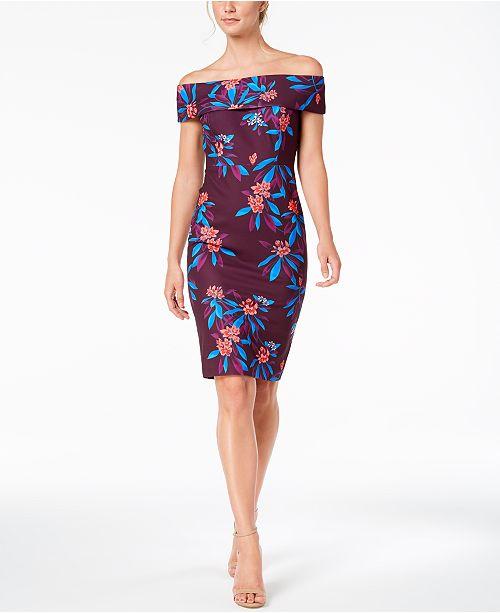 09af3af42de2 ... Calvin Klein Floral-Print Off-The-Shoulder Scuba Midi Dress ...