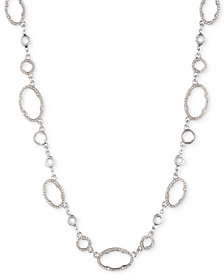 "Jenny Packham Silver-Tone Crystal Link Collar Necklace, 16"" + 2-1/2"" extender"